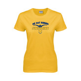 Ladies Gold T Shirt-Swim & Dive Butterfly Swimmer
