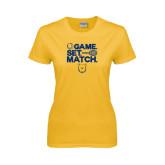 Ladies Gold T Shirt-Tennis Game Set Match