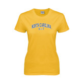 Ladies Gold T Shirt-Arched North Carolina A&T