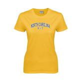Ladies Gold T Shirt-Arched North Carolina A&T