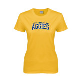 Ladies Gold T Shirt-Arched North Carolina A&T Aggies