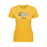 Ladies Gold T Shirt-AT-The Lock-Aggie Athletics Get Locked In