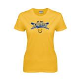 Ladies Gold T Shirt-Baseball Crossed Bats