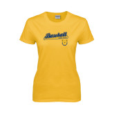 Ladies Gold T Shirt-Baseball Bat