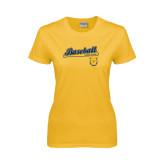 Ladies Gold T Shirt-Baseball Bat