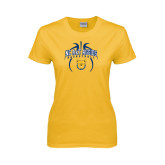 Ladies Gold T Shirt-Basketball in Ball
