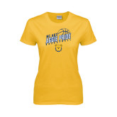 Ladies Gold T Shirt-Basketball Pride