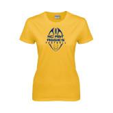 Ladies Gold T Shirt-Tall Football