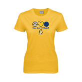 Ladies Gold T Shirt-Peace Love Volleyball