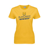 Ladies Gold T Shirt-Volleyball Can You Dig It