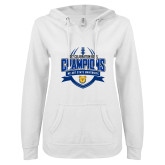 ENZA Ladies White V Notch Raw Edge Fleece Hoodie-2017 Celebration Bowl