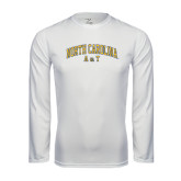 Performance White Longsleeve Shirt-Arched North Carolina A&T