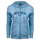 ENZA Ladies Light Blue Fleece Full Zip Hoodie-Arched North Carolina A&T