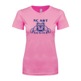 Next Level Ladies SoftStyle Junior Fitted Pink Tee-NC A&T Aggies