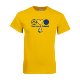 Gold T Shirt-Peace Love Volleyball