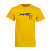 Gold T Shirt-Softball Script on Bat