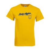 Gold T Shirt-Softball Script on Bat