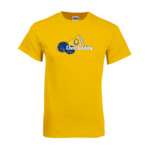 Gold T Shirt-Cheerleading Megaphone & Pom Poms