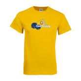 Gold T Shirt-Cheerleading Megaphone & Pom Poms