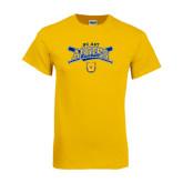Gold T Shirt-Baseball Crossed Bats