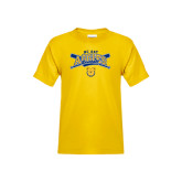 Youth Gold T Shirt-Baseball Crossed Bats