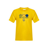 Youth Gold T Shirt-Peace Love Volleyball