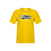 Youth Gold T Shirt-Softball Script