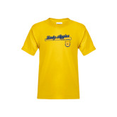 Youth Gold T Shirt-Softball Script on Bat