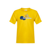 Youth Gold T Shirt-Cheerleading Megaphone & Pom Poms