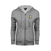 Ladies Grey Fleece Full Zip Hoodie-AT