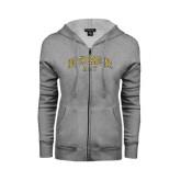 Ladies Grey Fleece Full Zip Hoodie-Arched North Carolina A&T