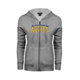 Ladies Grey Fleece Full Zip Hoodie-Arched North Carolina A&T Aggies