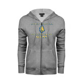 Ladies Grey Fleece Full Zip Hoodie-Alumni