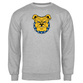 Grey Fleece Crew-Bulldog Head