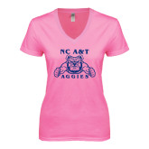 Next Level Ladies Junior Fit Deep V Pink Tee-NC A&T Aggies