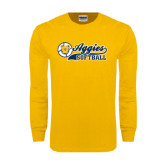 Gold Long Sleeve T Shirt-Softball Script