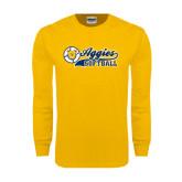 Gold Long Sleeve T Shirt-Softball Script