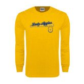 Gold Long Sleeve T Shirt-Softball Script on Bat