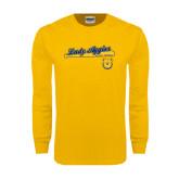 Gold Long Sleeve T Shirt-Softball Script on Bat