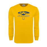 Gold Long Sleeve T Shirt-Swim & Dive Butterfly Swimmer