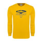 Gold Long Sleeve T Shirt-Swim & Dive Butterfly Swimmer