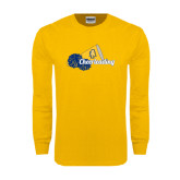 Gold Long Sleeve T Shirt-Cheerleading Megaphone & Pom Poms