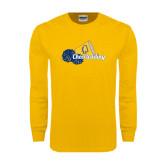 Gold Long Sleeve T Shirt-Cheerleading Megaphone & Pom Poms