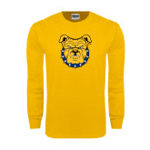 Gold Long Sleeve T Shirt-Bulldog Head