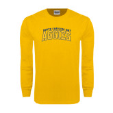 Gold Long Sleeve T Shirt-Arched North Carolina A&T Aggies