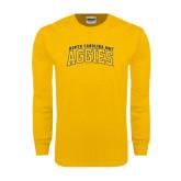 Gold Long Sleeve T Shirt-Arched North Carolina A&T Aggies