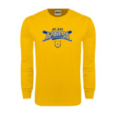 Gold Long Sleeve T Shirt-Baseball Crossed Bats