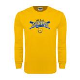 Gold Long Sleeve T Shirt-Baseball Crossed Bats