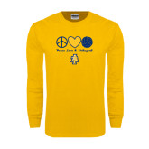 Gold Long Sleeve T Shirt-Peace Love Volleyball