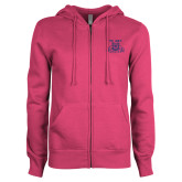 ENZA Ladies Fuchsia Fleece Full Zip Hoodie-NC A&T Aggies